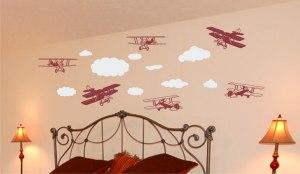 clouds an planes dark red
