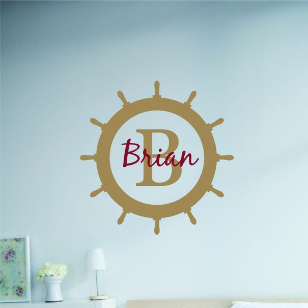 Personalized ships wheel monogram